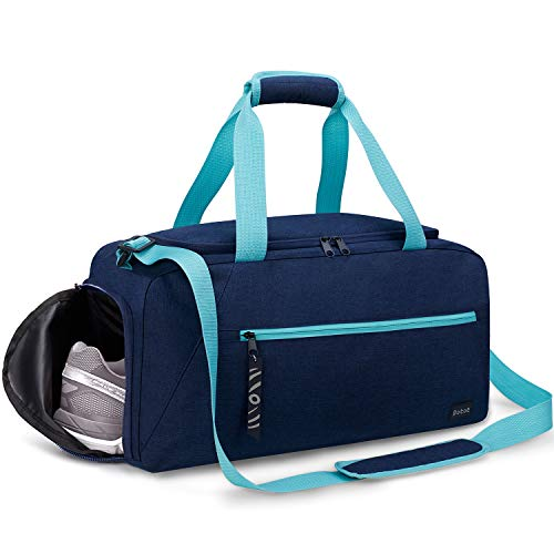 Speedo Duffel - Rotot Gym Sport Gym Bag, Duffle Bag with Waterproof Shoe Pouch, Weekend Travel Duffel Bag with a Water-resistant Insulated Wet Pocket Cooler (33L) (Navy & Teal)