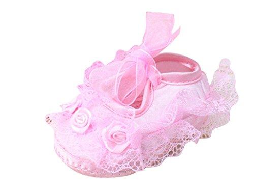ElecMotive ® Babyschuhe Spitzen weben Krabbelschuhe Taufe Taufschuhe Mädchen Lauflernschuhe mit verschiedenen Farben Pink
