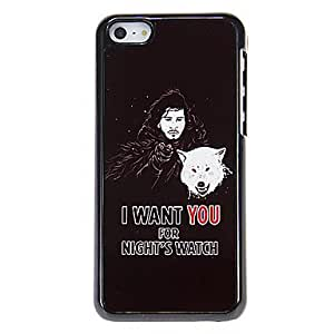DUR Man with Wolf Pattern Aluminous Hard Case for iPhone 5C