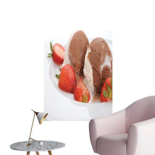 SeptSonne Wall Stickers for Living Room Extreme ice Cream Serve Strawberries Vinyl Wall Stickers Print,24