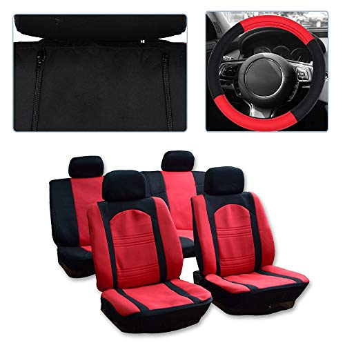 ck/Red Car Seat Cover w/Headrest Covers/Steering Wheel Cover/Shoulder Pads 11PCS Breathable Mesh Cloth Retractable Auto Seat Cover Replacement for Most Cars ()