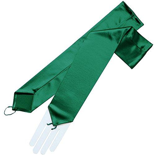 ZaZa Bridal Stretch Satin Fingerless Gloves Opera Length 16BL-Hunter Green ()