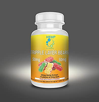 Hemp Infusionz 50mg Gummy Bears Hemp Extract Edible Gummie 5mg Hemp Per Piece 10 Hemp Pieces Per Bottle *1 Bottle Per Order NO CANNABIS Hemp Isolate Gummy Can Help As Sleep Aid Anxiety Relief PTSD