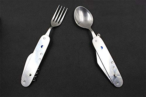 QTKJ Reusable Multi-Function Stainless Steel Silverware Set, Aluminum Handle Hiking Removable Dinner Forks and Spoons(Blue) by QTKJ (Image #5)