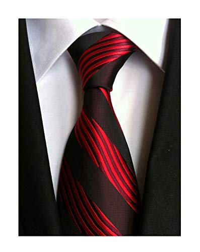 Secdtie Men's Red Black Striped Jacquard Woven Silk Tie Formal Necktie LUD24