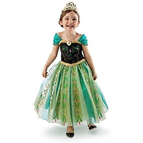 [BJ&BJ Girls Princess Green Anna Fancy Dress Costume Size 4] (Anna Frozen Green Dress Costume)
