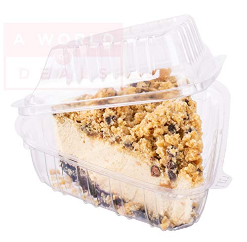 - A World Of Deals Clamshell Pie Wedge Clear Hinged [50 Pack] Take-Out Plastic Go Cheesecake Containers [Size: 6