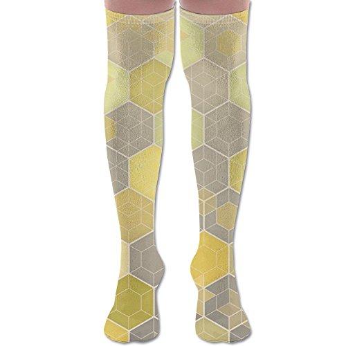(Over Knee High Socks Lemon & Gray Honeycomb Extra Long Athletic Sport Tube Stockings For Man)