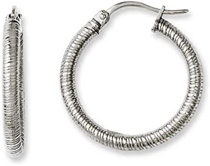 Chisel Stainless Steel Textured 20mm Hollow Hoop Earrings
