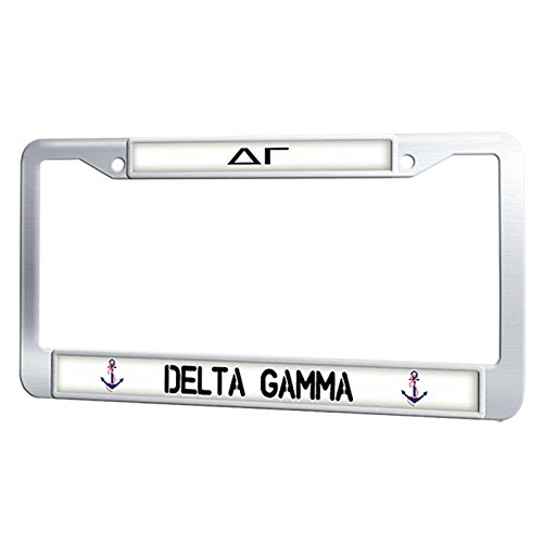 GumiHolders Delta Gamma License Plate Frame Sorority Plate Frame Cover Fluorescence, Stainless Steel License Plate Holder Metal Auto Tag Frame (Delta Car Gamma)