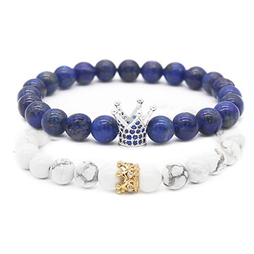 - POSHFEEL 8mm Natural Stone CZ Crown King Beads His and Hers Couple Bracelet, 7.5
