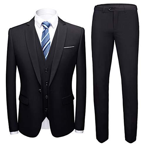 MY'S Men's Suit Slim Fit One Button 3-Piece Suit Blazer Dress Business Wedding Party Jacket Vest & Pants Black