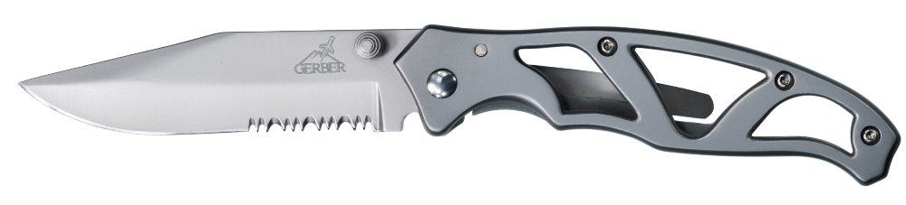 Gerber Paraframe II Knife, Serrated Edge, Stainless Steel [22-48447]