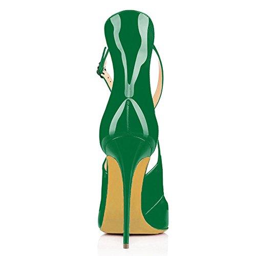uBeauty Damen High Heels Cross Strap Klassische Pumps Geschlossene Spitze Zehen Übergröße Schuhe Grün