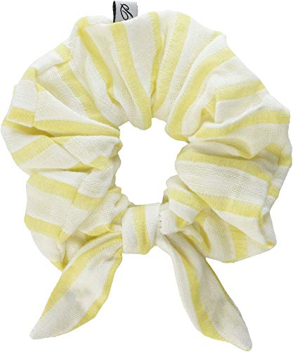 Plush Women's Striped Linen Elastic Hair Scrunchie with Bow Knot Marigold Yellow/White Stripe One Size