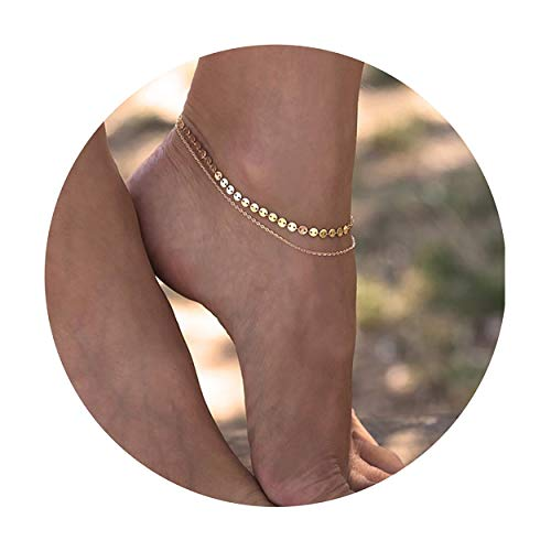 Fettero Charm Anklet Bracelets Women Girls Handmade Dainty 14K Gold Fill Boho Sexy Coin Beach Foot Jewelry Chain Adjustable Double Layer Round Wafer ()