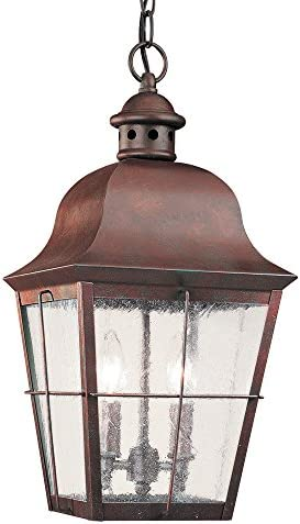 Sea Gull Lighting 6062-44 Chatham Two-Light Outdoor Pendant with Clear Seeded Glass Panels, Weathered Copper Finish