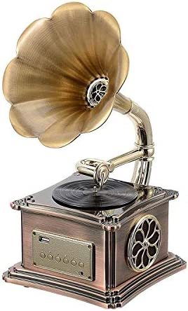 ALIZJJ ヴィンテージレトロクラシック蓄音機蓄音機の形のステレオスピーカーサウンドシステムオルゴールのUSBフラッシュドライブ