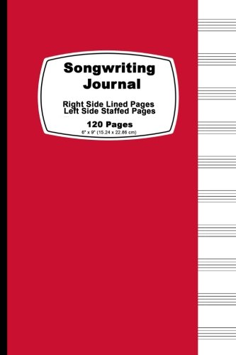 Songwriting Journal: Red Cover,Lined Ruled Paper And Staff, Manuscript Paper For Music Notes, Lyrics Or Poetry. For Musicians, Students, Teachers And ... Cm), Tight Binding, Soft Durable Book Cover