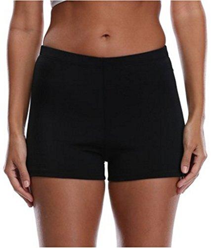 BeautyIn Women Swimsuit Tankini Side Split Plus Size Bottom Board Shorts, Size 14, Black