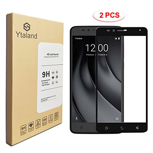 [2 Pack] T-Mobile Revvl Plus Screen Protector, Ytaland [ Full Coverage ] [0.3mm, 2.5D] [Bubble-Free] [9H Hardness] [HD Clear] Tempered Glass Screen Protector for T-Mobile Revvl Plus (Black)