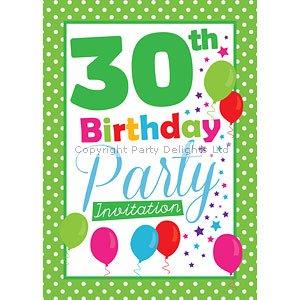 tarjetas de invitación de cumpleaños 30 - verde Poka Dot ...