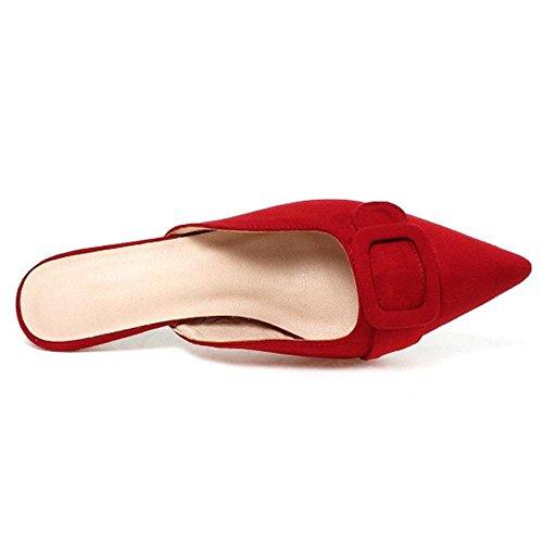 Heel Open Taoffen Back Sandales Red Femmes Kitten ESqCCwx01