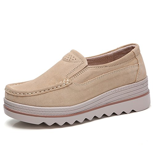 HKR-JJY3088xingse40 Women Platform Slip On Wedge Sneakers Low Top Wide Moc Loafers Comfort Working Shoes Tan 8 W US