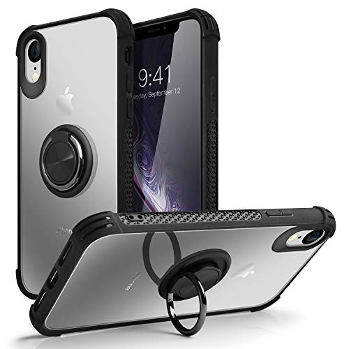(iPhone Xr Case,SQMCase Crystal Clear Reinforced Corners Rugged TPU Bumper Anti-Scratch Hard Panel Cover with 360 Degree Rotation Finger Ring Stand for iPhone Xr,Black)