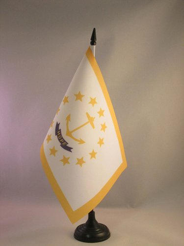 Table Flag 5'' x 8'' - US State of Rhode Island Desk Flag 21 x 14 cm - Black Plastic Stick and Base ()