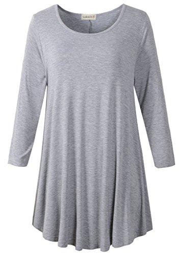 LARACE Women 3/4 Sleeve Tunic Top Loose Fit Flare T-Shirt(1X, Light Gray)