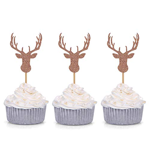 Giuffi Set of 24 Rose Gold Antler Cupcake Toppers Theme Party Decors ()
