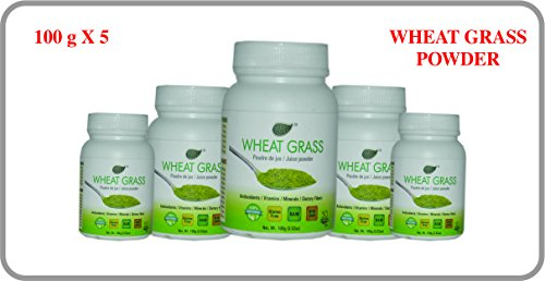 Herbo Natural WHEAT GRASS POWDER, Powder for JUICE (100gm/3.52 oz) (Pack of 5) (Best Wheatgrass Powder Brands In India)