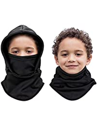 Kids Balaclava Outdoor Sport Mask, Thicker Fleece Hood Neck Warmer for Cold Weather, 1 Piece Black