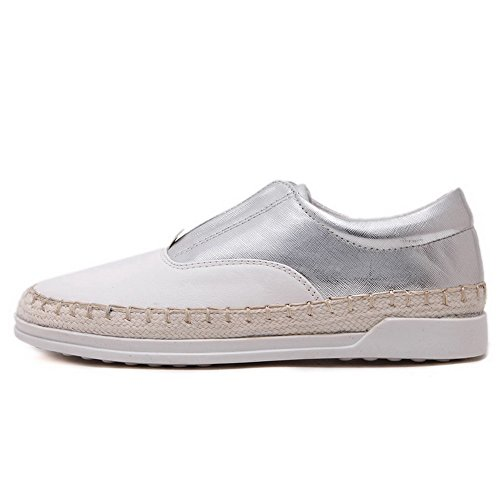 Amoonyfashion Donna Tacco A Spillo Tacco Basso Materiale Morbido Solido Tira-scarpe-scarpe Argento