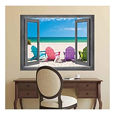 Open Window Creative Wall Decor - Peering Out onto A Gorgeous Ocean with Colorful Chairs - Wall Mural, Removable Sticker, Home Decor - 24x32 inches