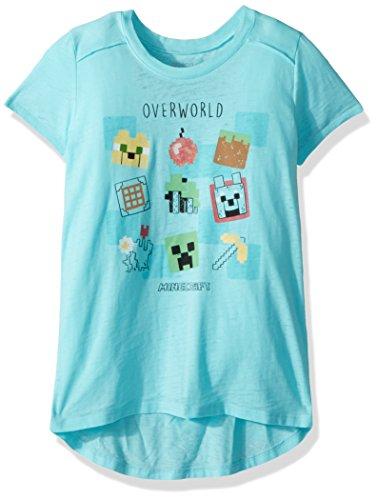 Minecraft Big Overworld Burnout Girls' Tee by Jinx, Aqua Heather, L (10/12)