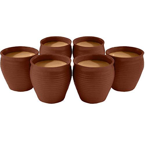 Creativegifts Ceramic Kulhar Cups Reusable Traditional Indian Chai Tea Cup (Set of 6. 100 ml -