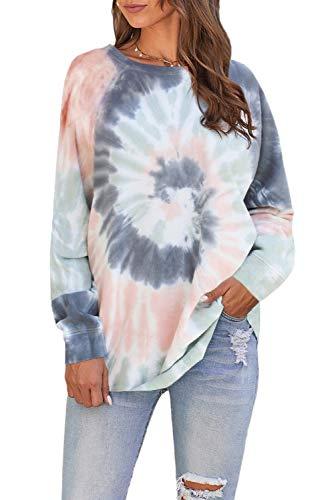 KINGFEN Womens Casual Color Block Crewneck Tie Dye Sweatshirt Long Sleeve Loose Pullover Tops Shirts
