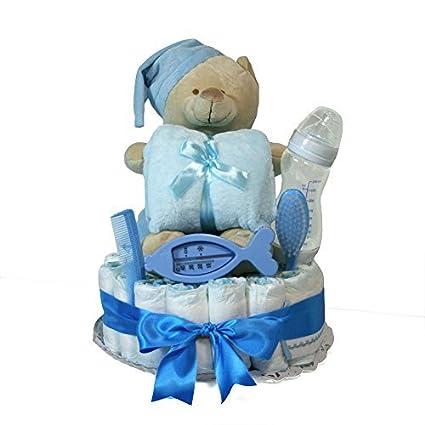 Tarta de pañales niño Dodot - Osito con manta azul - Mil Cestas