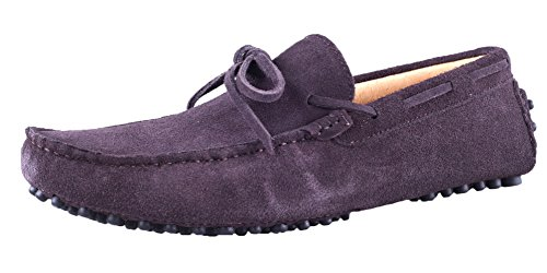 Leather Bowknot Nubuck Doug Loafers Santimon Moc Coffee Shoes Driving Mens wtvfnqUE