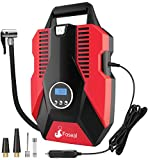 Foseal 1 Red Portable Air Compressor, 12V DC Digital Inflator 150 PSI Auto Shut-Off Easy to Use Pump with Emergency Led Light and Long Cable for Car Motorcycle Bicycle/Schrader Tires Ball