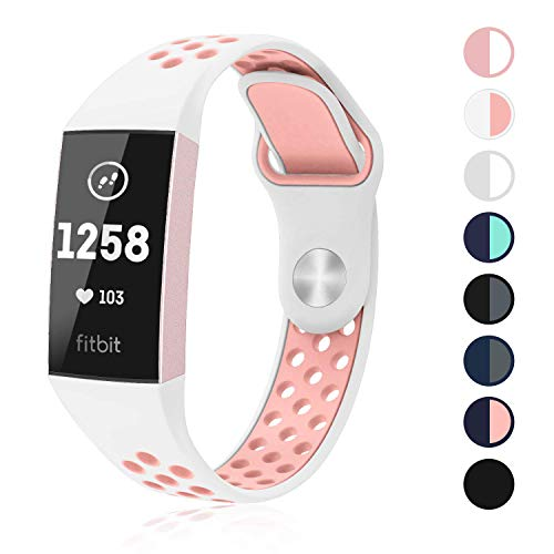 SWEES Silicone Bands Compatible Fitbit Charge 3 & Charge 3 SE Bands, Breathable Sport Strap Replacement Wristband Bands for Women Men, Small Large, Silver, Black, Grey, Navy Blue, Pink, White