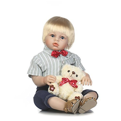 (Reborn Toddler Dolls 28 Inches 70cm Reborn Baby Boy Doll Soft Vinyl Silicone Newborn Toddler Doll Birthday Gift Children)