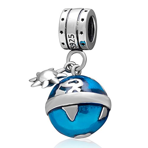 Ollia Jewelry 925 Sterling Silver Dangle Charm The Earth Around The Sun Rotation and Revolution Blue Enamel European Beads and Charms