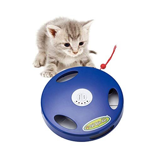 SunnyOn Electric Cat Toy-Excitement for Pet/Kitty/Kitten, Exercise Increase, Stress Relief, 5 Action Modes via Auto & Manual, Mimic Rat Sound/Squeak, Floor & Wall Installation, Tasseled Tail Attached]()