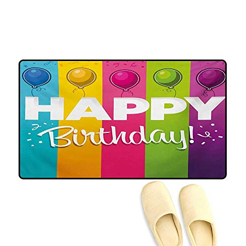 Bath Mat,Celebration Vertical Bold Stripes in with Balloons Festive Font,Door Mat Indoors Bathroom Mats Non Slip,Multicolor,32