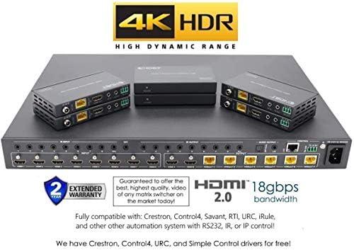 8×8 HDR 18GBPS HDbaseT 4K HDMI Matrix SWITCHER 6 PoC Receivers HDMI 2.0a 2.0 CAT6 CAT5e HDMI HDCP2.2 Routing SPDIF Audio CONTROL4 Savant Home Automation 41r5vk0saEL