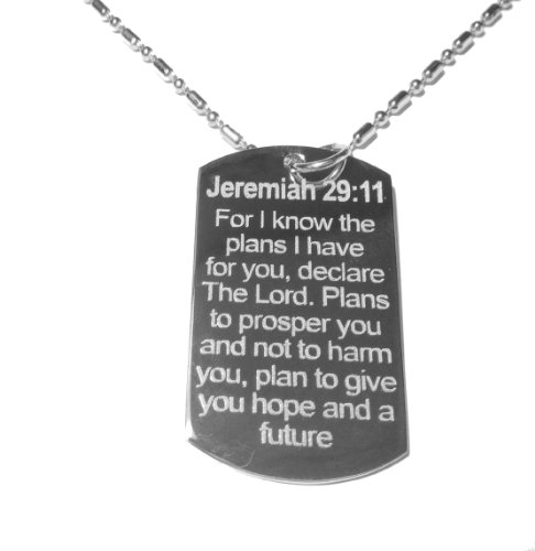 Dog Tag Bible (Jesus Christ Christian Bible Verse Jeremiah 29:11 for I Know the Plans Logo Symbol - Military Dog Tag, Luggage Tag Metal Chain)