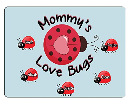 BRGiftShop Personalize Your Own Custom Name Mommy's Lovebugs Pretty Ladybug 11x15 Glass Cutting Board